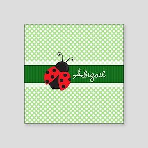 Personalized Ladybug on Green Polka Dots Pattern S