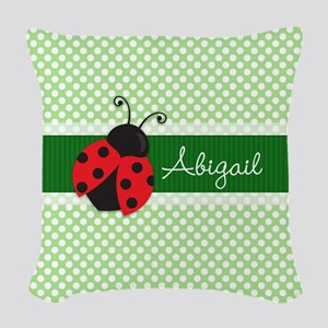 Personalized Ladybug on Green Polka Dots Pattern W
