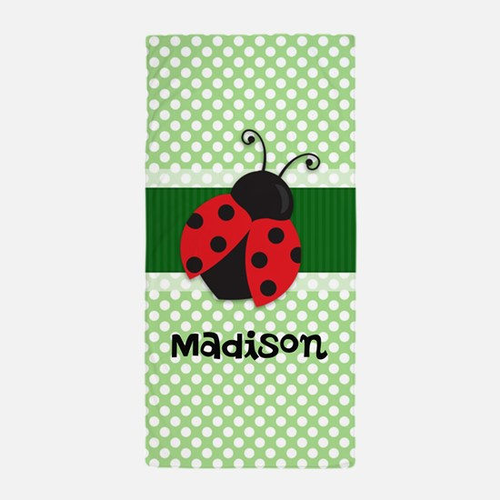 Personalized Ladybug on Green Polka Dots Pattern B