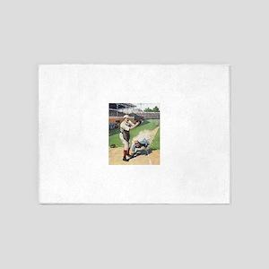 vintage baseball players 5'x7'Area Rug