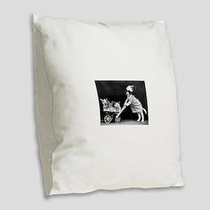 vintage dog kittens baby carri Burlap Throw Pillow