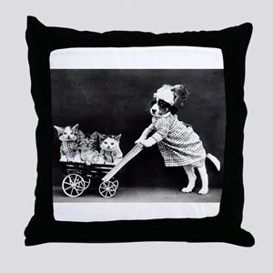 vintage dog kittens baby carriage bla Throw Pillow