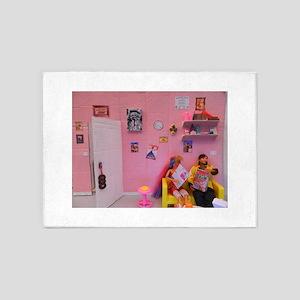 dolls pink dollhouse 5'x7'Area Rug