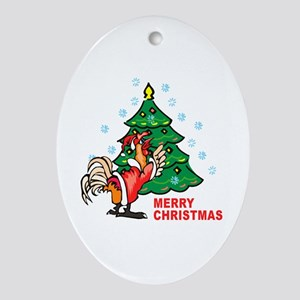Rooster Christmas Oval Ornament