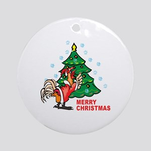 Rooster Christmas Round Ornament