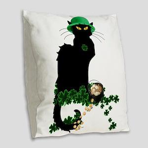 Le Chat Noir, St Patricks Day Burlap Throw Pillow