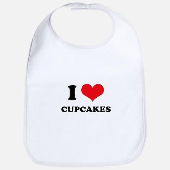 I Love Heart Cupcakes Bib