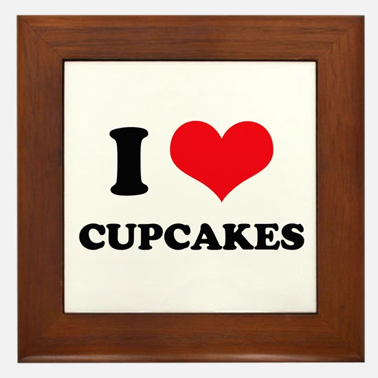 I Love Heart Cupcakes Framed Tile