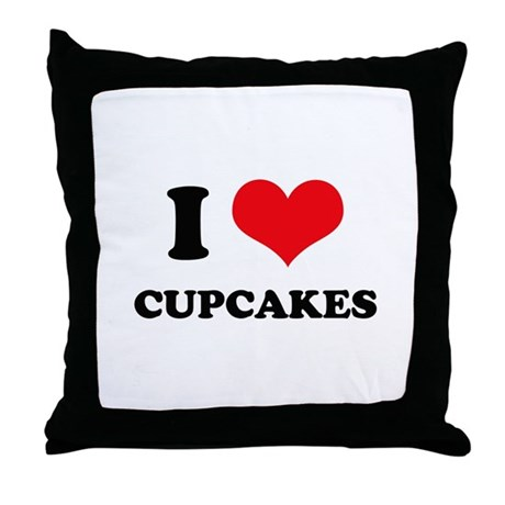 I Love Heart Cupcakes Throw Pillow