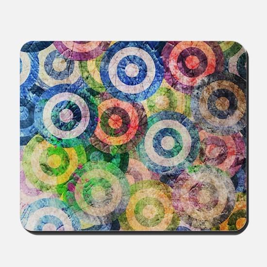 Multi Color Grunge Circles Pattern Mousepad