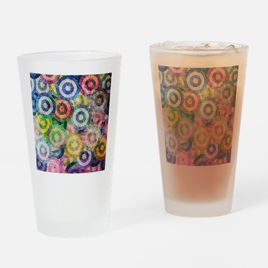 Multi Color Grunge Circles Pattern Drinking Glass