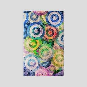 Multi Color Grunge Circles Pattern Area Rug
