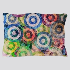 Multi Color Grunge Circles Pattern Pillow Case