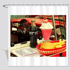 vintage rockabilly burger fries col Shower Curtain