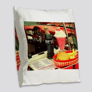vintage rockabilly burger frie Burlap Throw Pillow