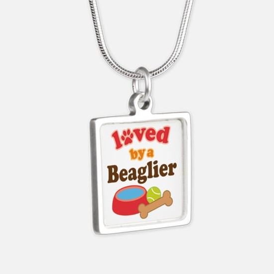 Beaglier Dog Lover Silver Square Necklace