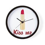 Kiss Me Lipstick Wall Clock