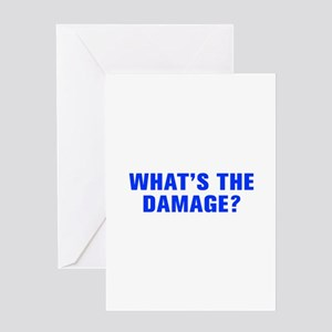 What s the damage-Akz blue Greeting Cards