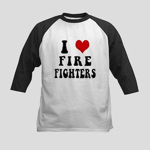 I Love Firefighters Kids Baseball Jersey