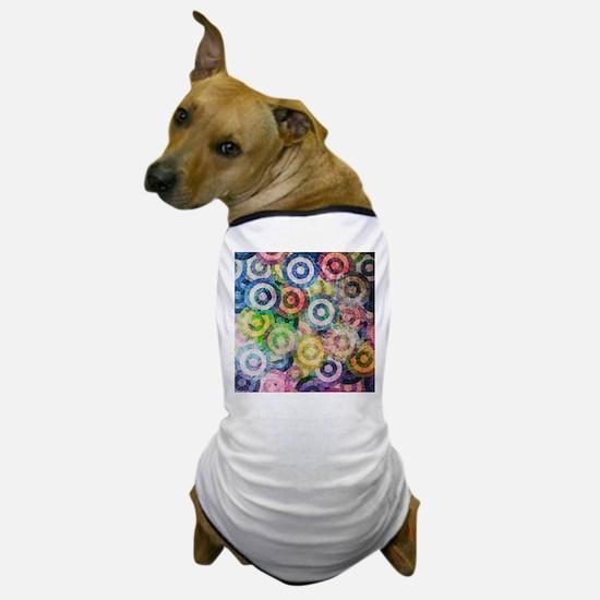 Multi Color Grunge Circles Pattern Dog T-Shirt