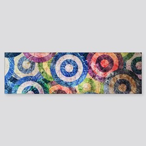Multi Color Grunge Circles Pattern Bumper Sticker