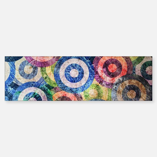 Multi Color Grunge Circles Pattern Bumper Bumper Bumper Sticker