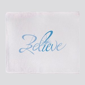 BELIEVE LETTERING Throw Blanket