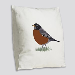 American Robin Burlap Throw Pillow