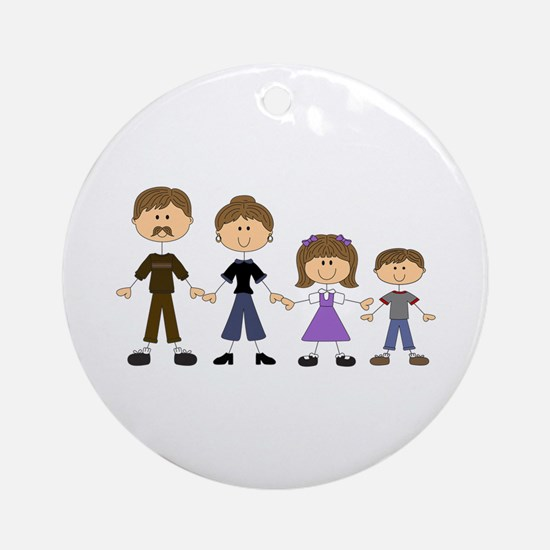 STICK FIGURE FAMILY Ornament (Round)