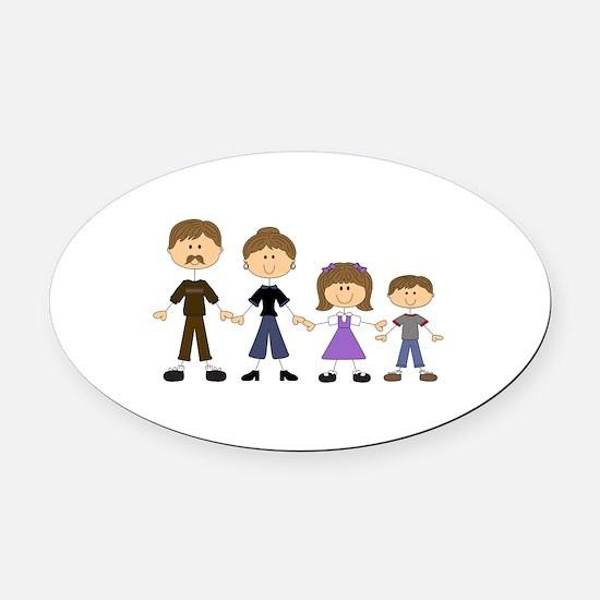 STICK FIGURE FAMILY Oval Car Magnet