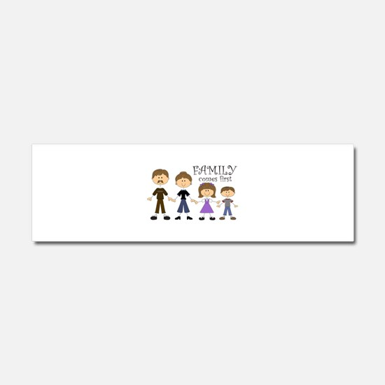 Family Comes First Car Magnet 10 x 3