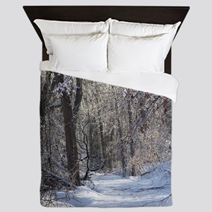 Icy Snow Trail Queen Duvet