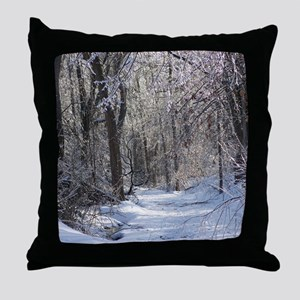 Icy Snow Trail Throw Pillow