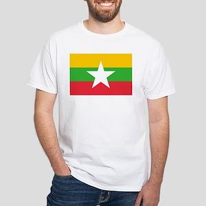 Myanmar Flag White T-Shirt