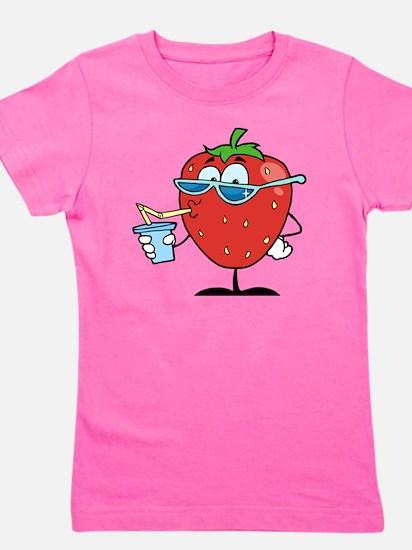 Strawberry Drinking Girl's Tee