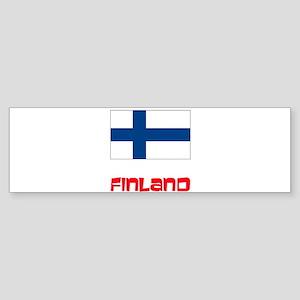 Finland Flag Retro Red Design Bumper Sticker