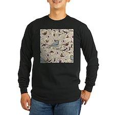 Birds and Butterflies Long Sleeve Dark T-Shirt