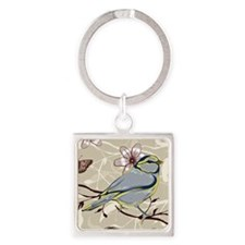 Birds and Butterflies Square Keychain