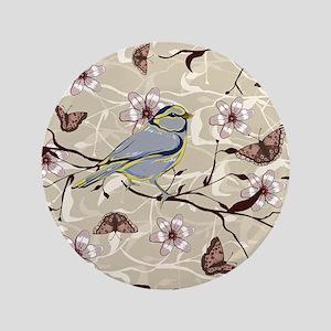 """Birds and Butterflies 3.5"""" Button"""