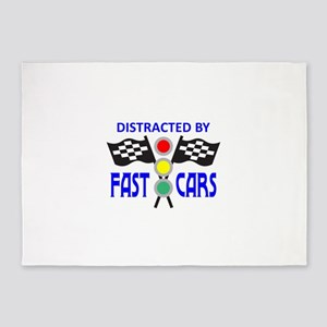 DISTRACTED BY FAST CARS 5'x7'Area Rug