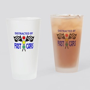 DISTRACTED BY FAST CARS Drinking Glass