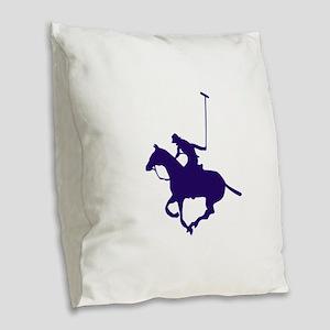 POLO PLAYER Burlap Throw Pillow