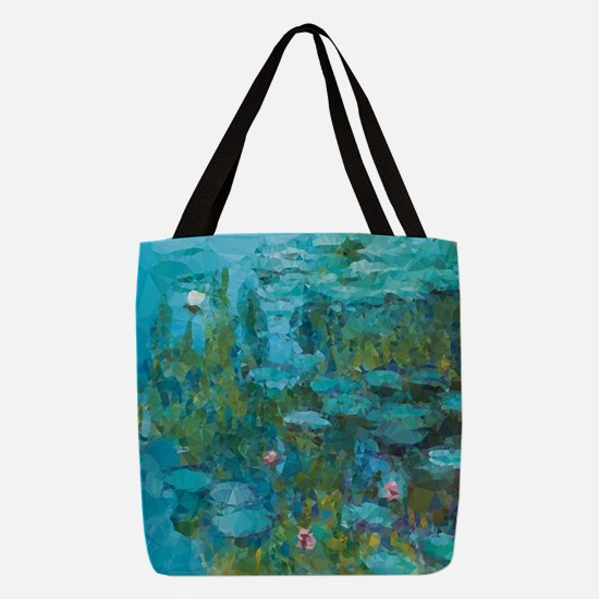 Monet Water Lilies Low Poly Polyester Tote Bag