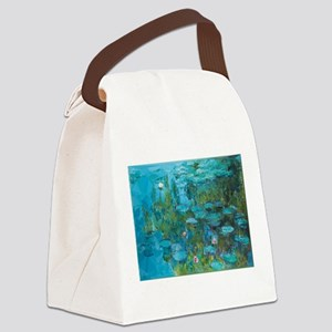 Monet Water Lilies Low Poly Canvas Lunch Bag