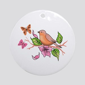 ROBIN AND BUTTERFLIES Ornament (Round)