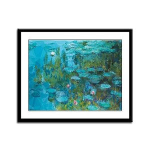 Monet Water Lilies Low Poly Framed Panel Print