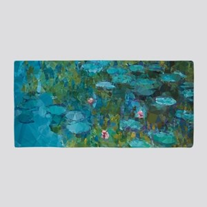 Monet Water Lilies Low Poly Beach Towel