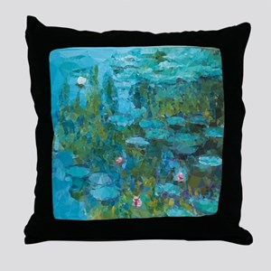 Monet Water Lilies Low Poly Throw Pillow