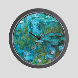 Monet Water Lilies Low Poly Wall Clock