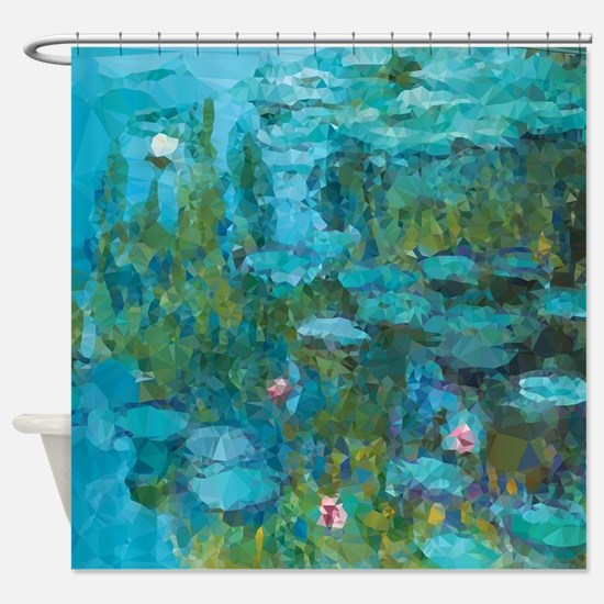 Monet Water Lilies Low Poly Shower Curtain